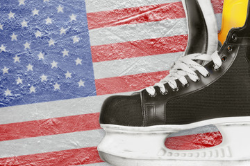 Hockey skates and American flag