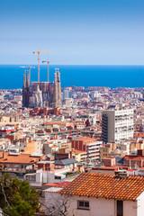 Top view of Barcelona with Sagrada Familia