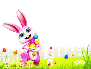 happy bunny runing with colored eggs