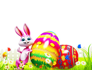 happy bunny with big color eggs
