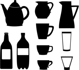 Silhouettes of bottles, jugs and cups.