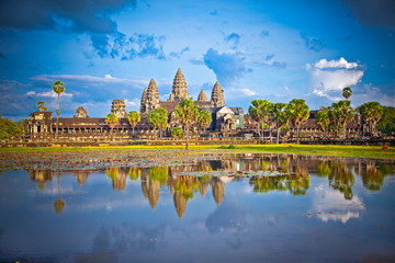 Famous Angkor Wat temple complex in sunset,  Cambodia.