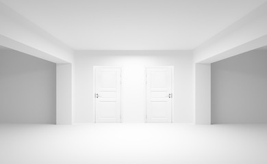 Abstract empty interior with two white doors. 3d illustration