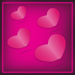 Pink paper 4 hearts card . Vector background.