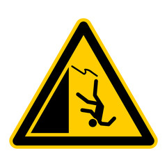 wso25 WarnSchildOrange - english warning sign: danger of falling - tripping hazard - German Warnschild: Warnung vor Absturzgefahr - Stolpergefahr - g434