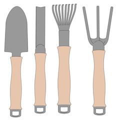 cartoon image of garden tools