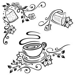 Japanische Kirschblüten und Tee. Teetasse und Teebeutel. Vector Set.