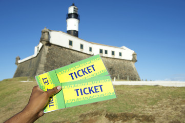Brazilian Hand Holding Tickets Farol da Barra Salvador Brazil