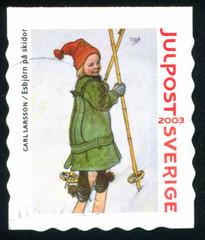 Esbjorn on skis by Carl Larsson