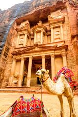 Al Khazneh in the ancient Jordanian city of Petra.