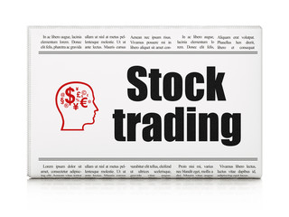 Finance concept: newspaper with Stock Trading and Head With