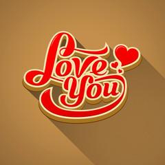 Love you modern message valentine day background
