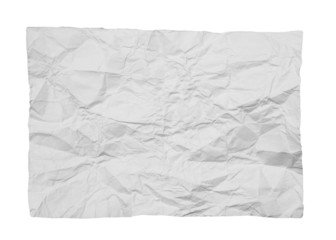 crumpled white paper on white background