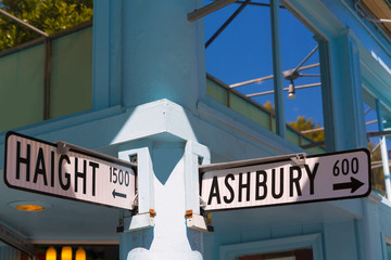San Francisco Haight Ashbury street sign junction California