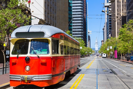 San Francisco Cable car Tram in Market Street California