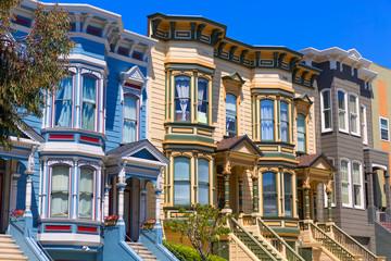 Deurstickers San Francisco San Francisco Victorian houses in Pacific Heights California