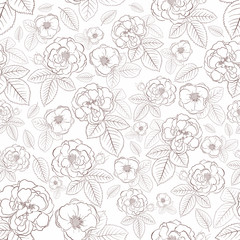 Seamless pattern of flowers, brown on white