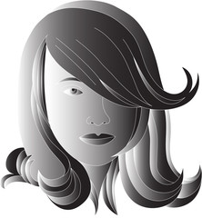 black hair vector illustration