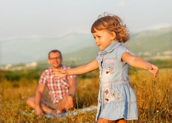 Wall Mural - Healthy father and daughter playing