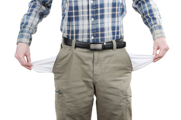 Man showing his empty pockets isolated on white