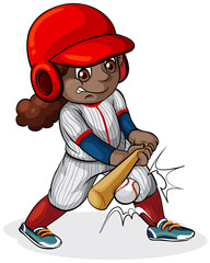 A Black girl playing baseball