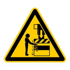 wso30 WarnSchildOrange - english warning sign: hand crushing between machine press - German Warnschild: Warnung vor Handverletzung durch Maschinenpresse - g438