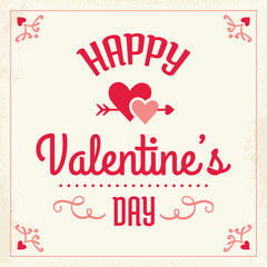 happy valentines day card in cream pink and red with love hearts