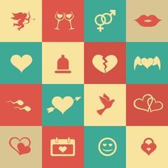 Set retro valentine's day icons, love on the Internet symbols