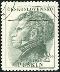 CZECHOSLOVAKIA - 1949: shows portrait of Alexander Pushkin