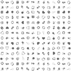 Pattern of silhouette icons over white background.