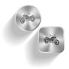 Motorcycle. Vector set steel buttons
