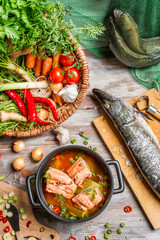 Closeup of fresh ingredients for fish soup