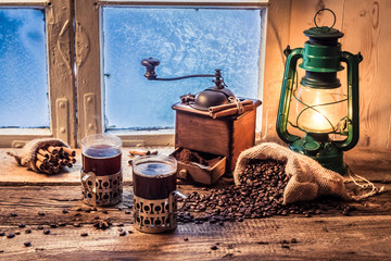 Fototapete - Enjoy your hot coffee in cold day