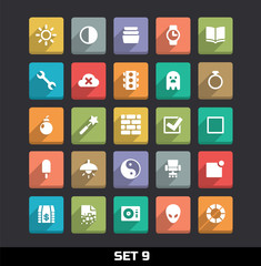 Trendy Vector Icons With Long Shadow Set 9