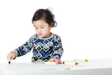 Baby boy love drawing