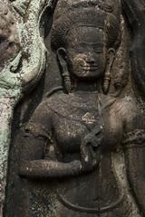 Detail of stone carvings in Angkor Wat