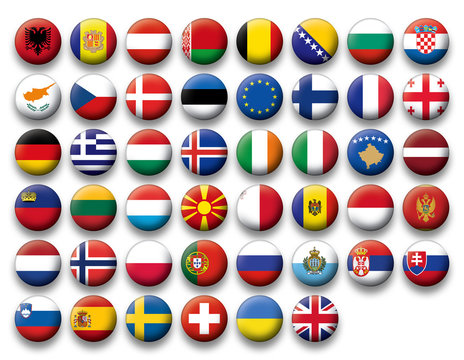 Vector Set of buttons flags of Europe