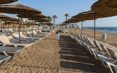 Relaxing deckchairs at a coral reef near Eilat, Israel