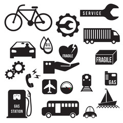 Automobile icons set, vector format