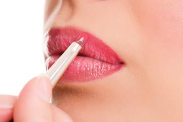 woman professional make-up, lipgloss