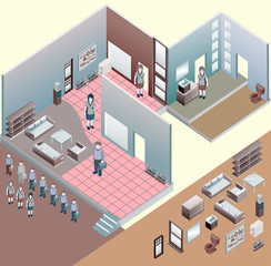 isometric of interior room. custom interior isometric series