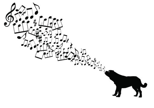 music notes takes off from dog's mouth