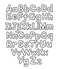 Alphabet bubble contour drawn hands
