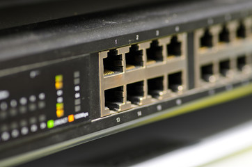 LAN network Ethernet switch. Close-up