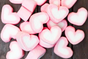 heart shape of marshmallows