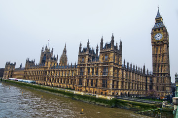 House of Parliament with Big Ban tower in London