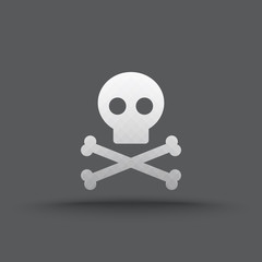 Vector of transparent skull and crossbones icon