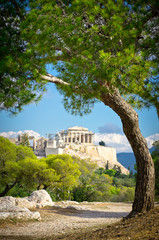 Stores à enrouleur Athènes Beautiful view of ancient Acropolis, Athens, Greece
