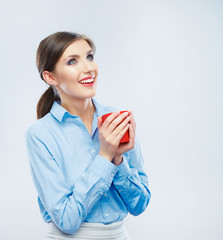 Business woman portrait hold red coffee cup.