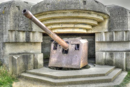 Old broken German bunkers of Atlantic Wall of Longues sur Mer